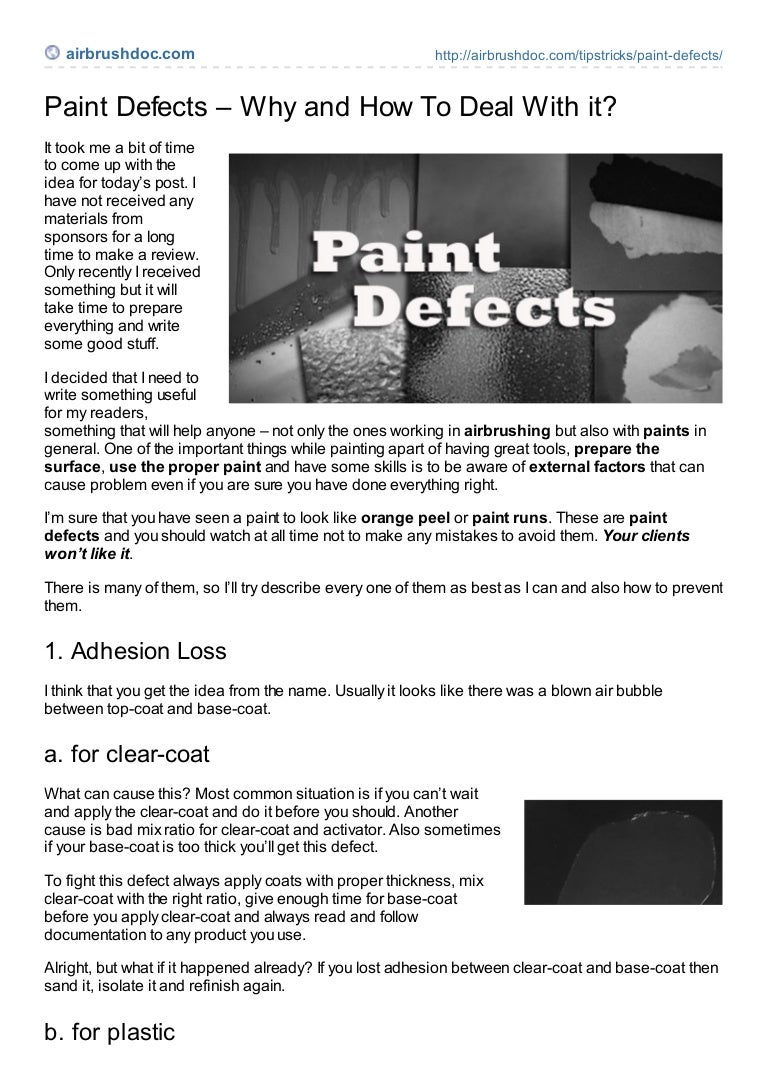 Paint defects
